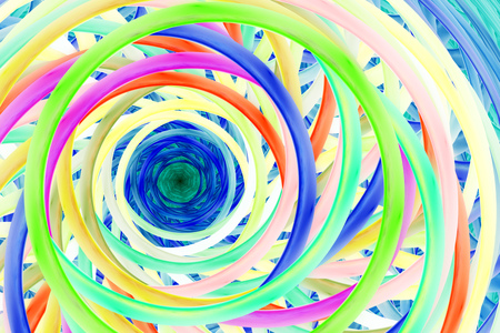 Abstract colorful fractal spiral. Fantasy design in yellow, red, blue and green colors. Digital art. 3D rendering.