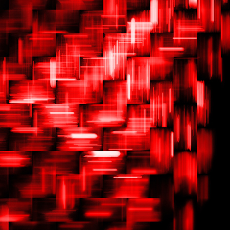hyperspace: Abstract red and black geometric background. Fantasy fractal texture. Digital art. 3D rendering. Stock Photo