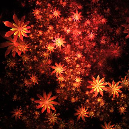 Abstract Exotic Orange Flowers On Black Background Fantasy Fractal Design Psychedelic Digital Art