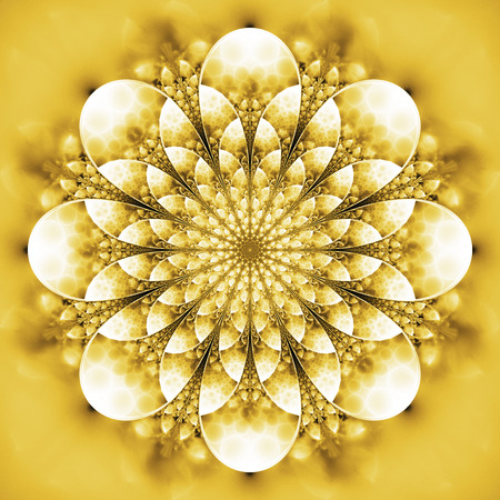 Abstract exotic flower. Psychedelic mandala design in bright yellow and white colors. Fantasy fractal art. 3D rendering.