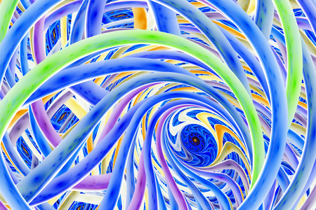 interweaving: Abstract colorful fractal spiral. Fantasy design in yellow, purple, blue and green colors. Digital art. 3D rendering.