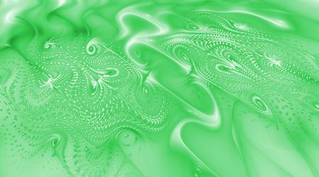 Abstract emerald green swirls. Psychedelic fractal texture. Digital art. 3D rendering.