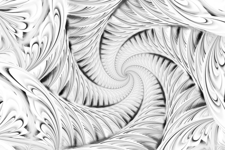 hypnotize: Abstract fractal spiral. Fantasy design in black and white colors. Digital art. 3D rendering. Stock Photo