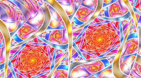 Mosaic roses. Abstract intricate background in red, golden, pink and blue colors. Psychedelic fractal texture. Digital art. 3D rendering. Stock Photo