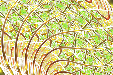 Abstract intricate yellow, brown and green swirly background. Psychedelic fractal texture. Digital art. 3D rendering. Stock Photo