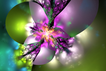 Abstract exotic flower on black background. Fantasy fractal in pink, green, yellow and blue colors. Psychedelic digital art. 3D rendering. Stock Photo