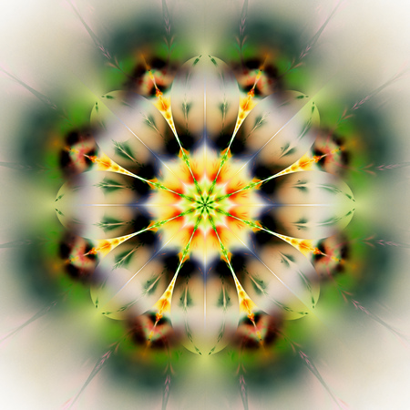 Abstract exotic flower. Psychedelic mandala design in orange, black and green colors. Fantasy fractal art. 3D rendering.