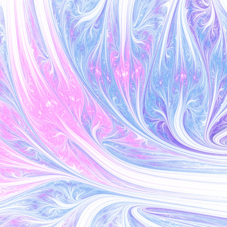 Abstract pink and blue swirly shapes on black background. Fantasy fractal design. Psychedelic digital art. 3D rendering.