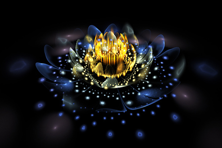 Abstract exotic flower with glowing sparkles on black background. Fantasy fractal design in blue and yellow colors. Psychedelic digital art. 3D rendering.