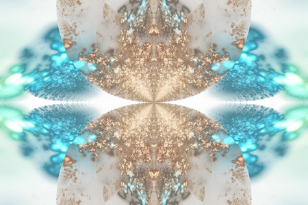 Exotic flower. Abstract symmetrical floral design in blue, beige and green colors. Fantasy fractal art. 3D rendering.