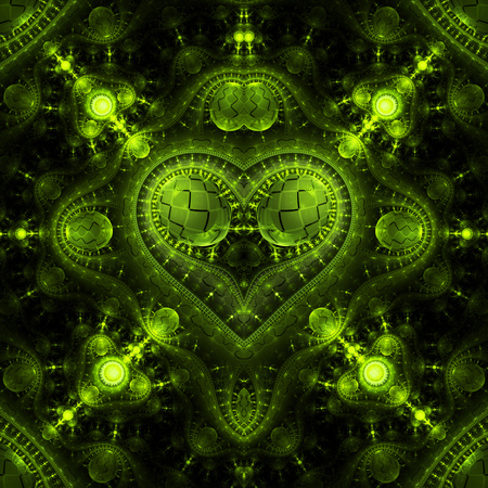 Abstract ornamented steampunk heart. Fantasy detailed fractal background in bright green colors. Digital art. 3D rendering.