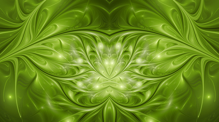 Abstract glossy exotic flowers. Fantasy symmetric fractal design in bright green colors. Digital art. 3D rendering.