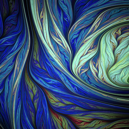 Abstract colorful blue and green swirly shapes on black background. Fantasy fractal design. Psychedelic digital art. 3D rendering.