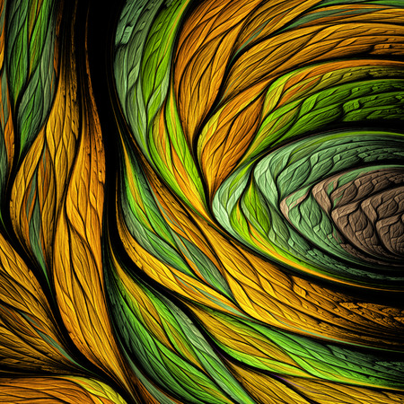 Abstract colorful orange and green swirly shapes on black background. Fantasy fractal design. Psychedelic digital art. 3D rendering.