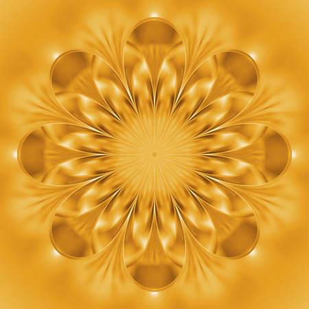 Abstract exotic golden flower. Psychedelic mandala design in bright yellow colors. Fantasy fractal art. 3D rendering.