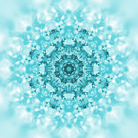 hypnotize: Abstract exotic flower. Psychedelic mandala design in bright blue colors. Fantasy fractal art. 3D rendering.