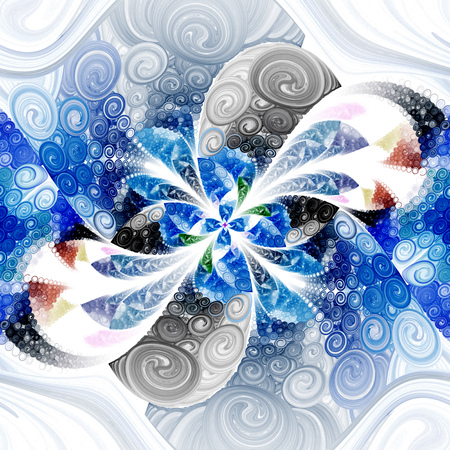 hypnotize: Exotic flower with textured petals on white background. Abstract symmetrical floral design in blue, black, green and brown colors. Fantasy fractal art. 3D rendering. Stock Photo
