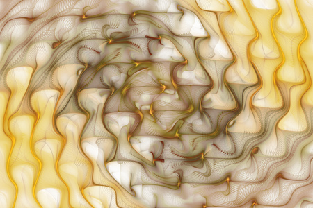 khaki: Abstract yellow and brown ripples on white background. Psychedelic fractal texture. Digital art. 3D rendering. Stock Photo