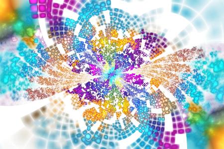 白い背景のテクスチャの花びらを持つエキゾチックな花は。青、紫、黄、緑の色で抽象的な非対称の花のデザイン。ファンタジー フラクタル アート