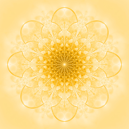 Abstract exotic golden flower. Psychedelic mandala design in light yellow colors. Fantasy fractal art. 3D rendering.
