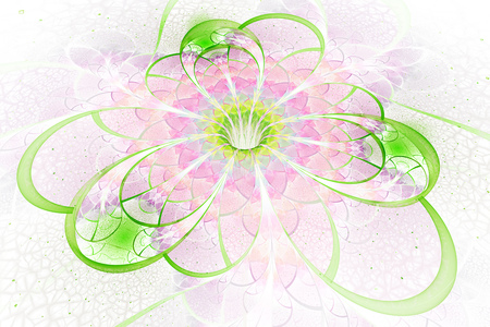 crimson colour: Abstract exotic flower with textured petals on white background. Fantastic fractal design in light green, pink and yellow colors. Psychedelic digital art. 3D rendering.