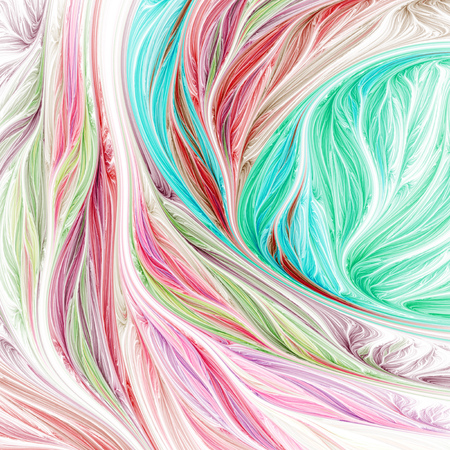 interweaving: Abstract colorful red, pink and green swirly shapes on white background. Fantasy fractal design. Psychedelic digital art. 3D rendering.