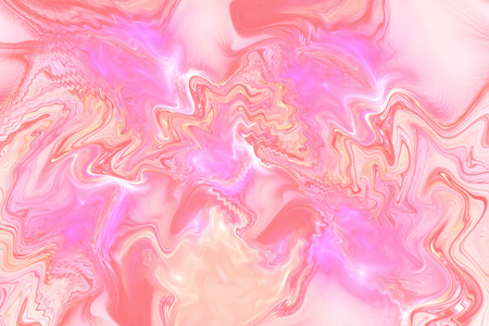 Abstract fantasy marble texture. Romantic fractal background in pastel pink and orange colors. Digital art. 3D rendering.