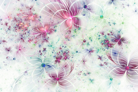 crimson colour: Abstract exotic pink and green flowers on white background. Fantasy fractal design. Psychedelic digital art. 3D rendering.