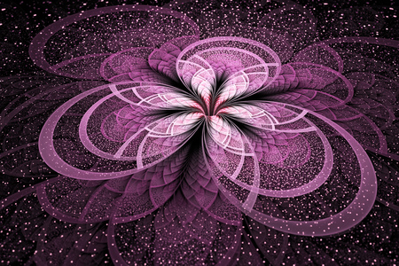 crimson colour: Abstract exotic pink flower with shining sparks on black background. Fantastic fractal design. Psychedelic digital art. 3D rendering. Stock Photo