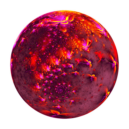 crimson colour: Abstract ornamented sphere with delicate flowers on white background. Fantasy fractal design in pink, red and orange colors. Psychedelic digital art. 3D rendering. Stock Photo