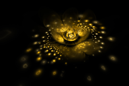 fire flower: Abstract exotic flower with glowing sparkles on black background. Fantasy fractal design in golden colors. Psychedelic digital art. 3D rendering. Stock Photo
