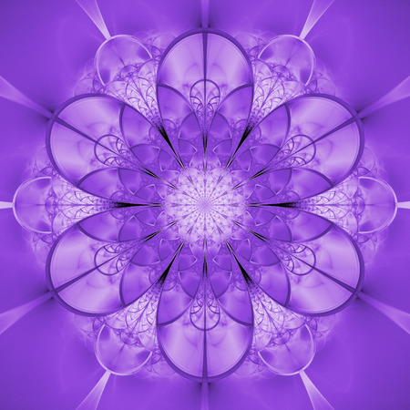 Abstract exotic purple flower. Psychedelic mandala design. Fantasy fractal art. 3D rendering.