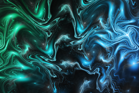 Abstract blue, green and black marble texture. Fantasy fractal background. Digital art. 3D rendering.