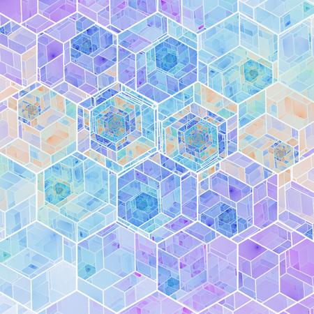 Abstract orange and blue mosaic background. Psychedelic hexagonal fractal texture. Digital art. 3D rendering. 版權商用圖片