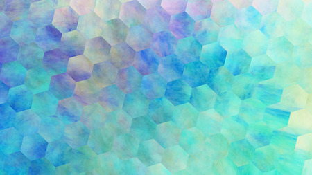 Abstract violet and blue hexagonal texture. Geometric fractal background. Fantasy digital art. 3D rendering. Stock Photo