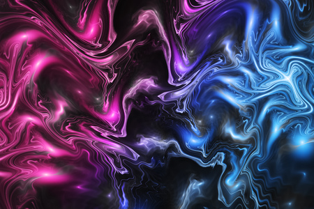Abstract blue, pink and black marble texture. Fantasy fractal background. Digital art. 3D rendering.