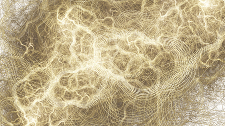 Abstract golden swirly lines. Digital fractal art. 3D rendering. Banco de Imagens