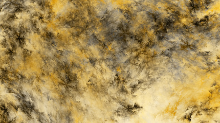 Abstract painted texture. Chaotic grey and yellow strokes. Fractal background. Fantasy digital art. 3D rendering. Banco de Imagens