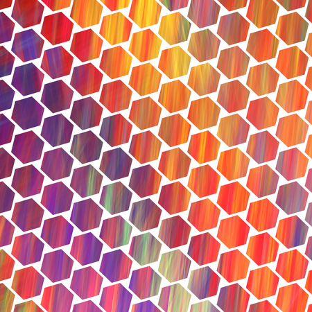 Abstract colorful hexagonal texture. Geometric fractal background. Fantasy digital art. 3D rendering.