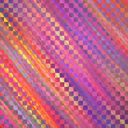 Abstract colorful checkered texture. Geometric fractal background. Fantasy digital art. 3D rendering.