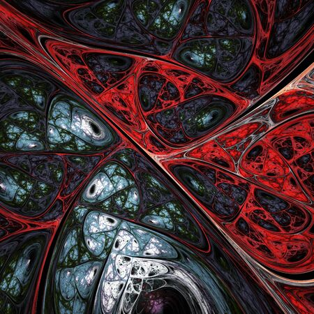 Abstract colorful red and grey swirly shapes. Fantasy organic background. Digital fractal art. 3d rendering.