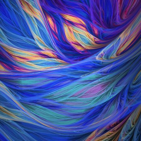 Abstract exotic tropical blue and orange leaves. Digital fractal art. 3d rendering. Archivio Fotografico