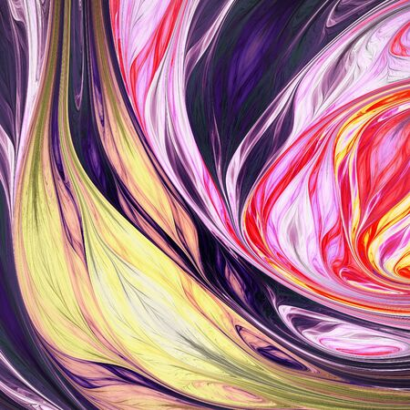 Abstract exotic tropical yellow and rose leaves. Fantasy organic background. Digital fractal art. 3d rendering.
