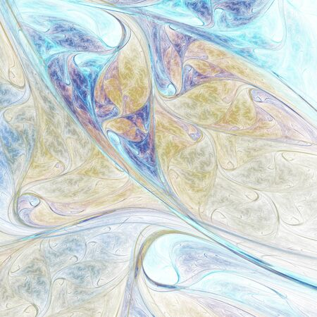 Abstract colorful blue and yellow swirly shapes. Fantasy organic background. Digital fractal art. 3d rendering.