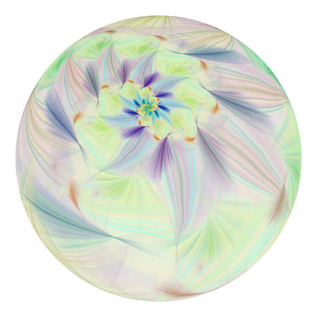 Beautiful exotic flower in crystal sphere. Fantasy green and blue fractal design. Psychedelic digital art. 3D rendering.