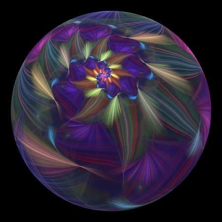 Beautiful exotic flower in crystal sphere. Fantasy green and violet fractal design. Psychedelic digital art. 3D rendering.