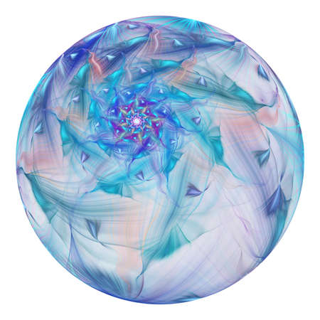 Beautiful exotic flower in crystal sphere. Fantasy blue fractal design. Psychedelic digital art. 3D rendering.