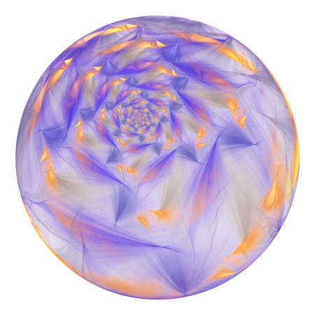 Beautiful exotic flower in crystal sphere. Fantasy blue and golden fractal design. Psychedelic digital art. 3D rendering.
