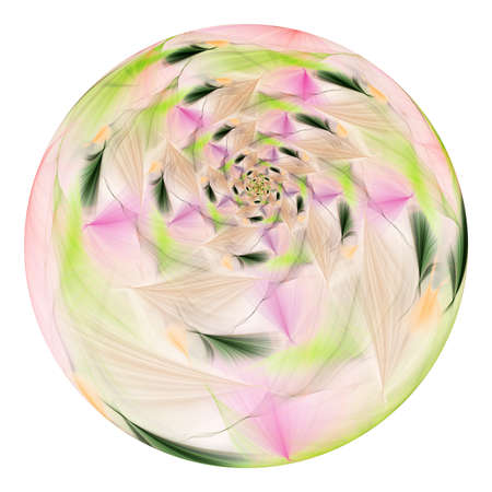 Beautiful exotic flower in crystal sphere. Fantasy pink and green fractal design. Psychedelic digital art. 3D rendering.