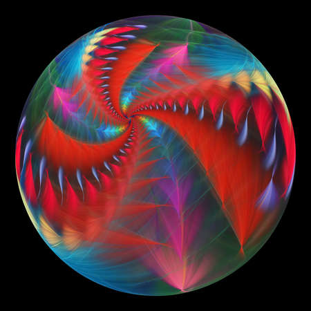 Beautiful exotic flower in crystal sphere. Fantasy red and blue fractal design. Psychedelic digital art. 3D rendering.